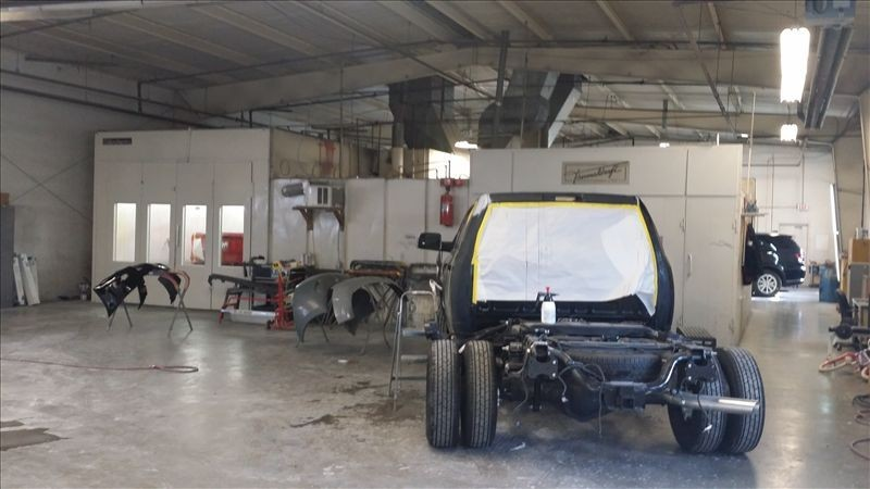 A neat and clean and professional refinishing department is located at Clay Cooley Collision Center, Irving, TX, 75062