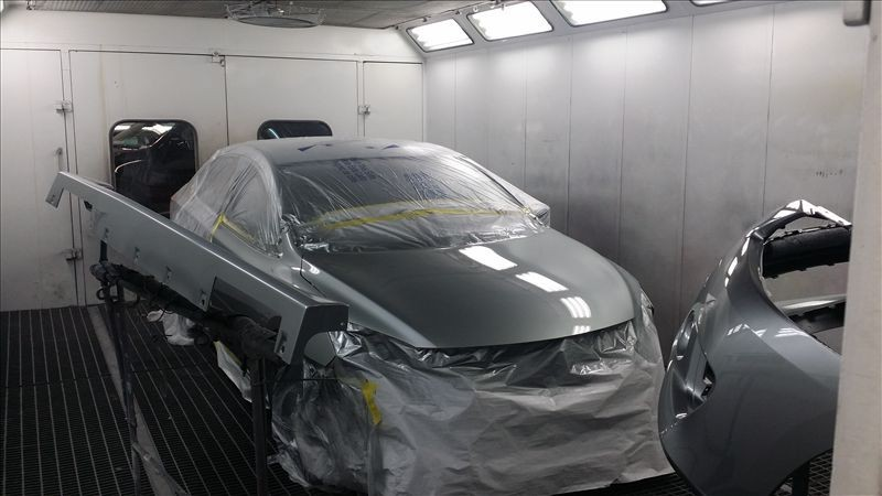 A clean and neat refinishing preparation area allows for a professional job to be done at Clay Cooley Collision Center, Irving, TX, 75062.