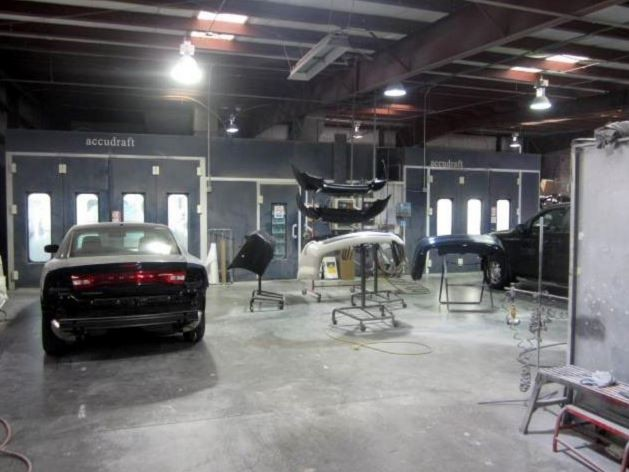 A clean and neat refinishing preparation area allows for a professional job to be done at Advanced Autobody II, Inc., Hardeeville, SC, 29927.