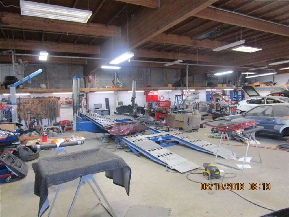 Professional vehicle lifting equipment at Larkfield Body And Paint, located at Santa Rosa, CA, 95403-7503, allows our damage estimators a clear view of all collision related damages.