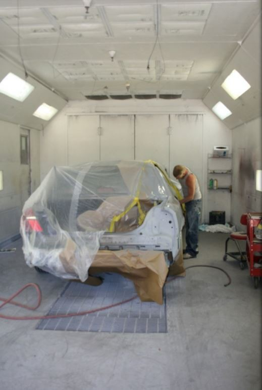 A clean and neat refinishing preparation area allows for a professional job to be done at Gross & Son Paint & Body Shop, Inc., Pensacola, FL, 32505.