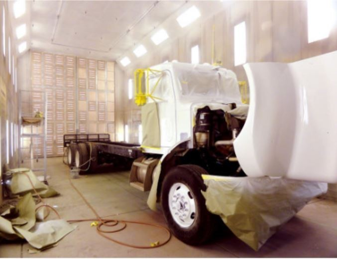 A clean and neat refinishing preparation area allows for a professional job to be done at Cambridge Auto Body, Cambridge, MD, 21613.