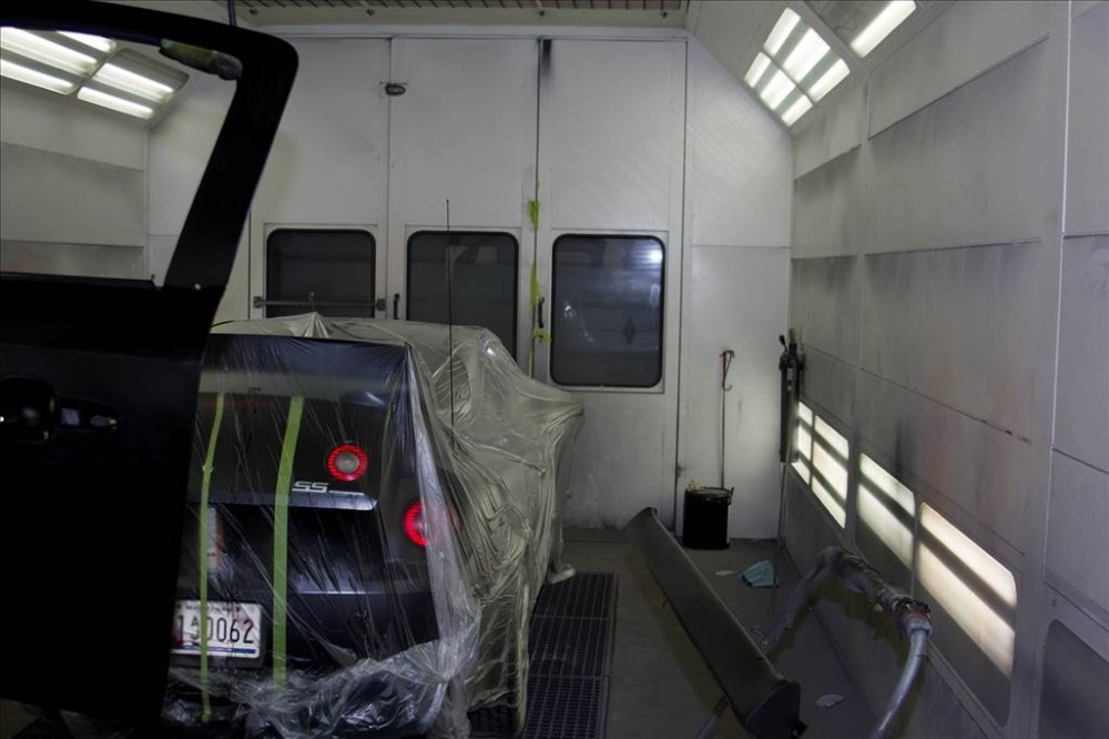 A professional refinished collision repair requires a professional spray booth like what we have here at Preston Auto Body in Preston, MD, 21655.