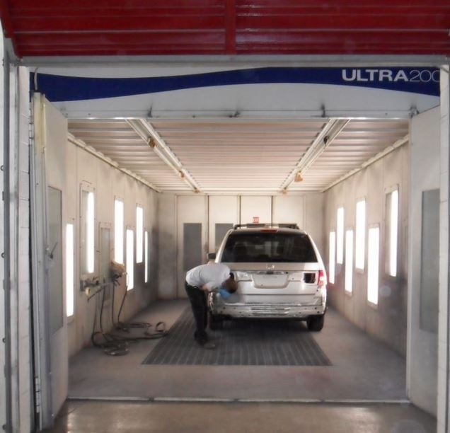 A clean and neat refinishing preparation area allows for a professional job to be done at CARSTAR Gapsch Collision Center, St Louis, MO, 63123.