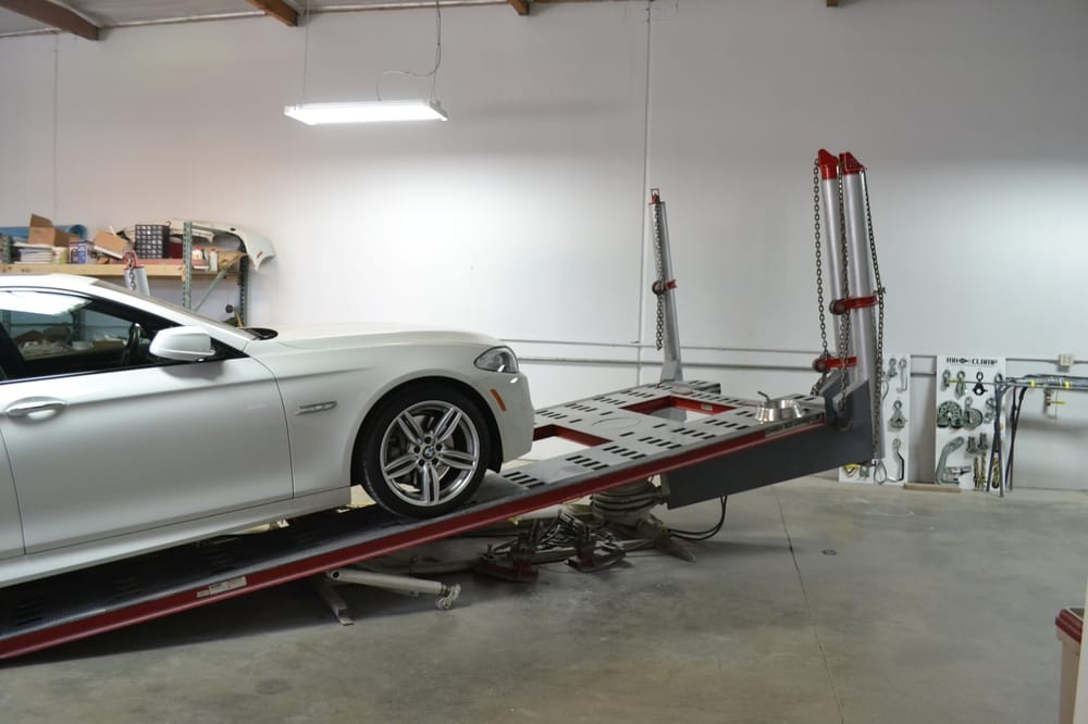 Professional vehicle lifting equipment at Picasso Auto Body Inc, located at Riverside, CA, 92504, allows our damage estimators a clear view of all collision related damages.