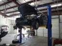 Professional vehicle lifting equipment at NorthGlenn Autobody, located at Denver, CO, 80234, allows our damage technicians a clear view of what might be causing the problem.