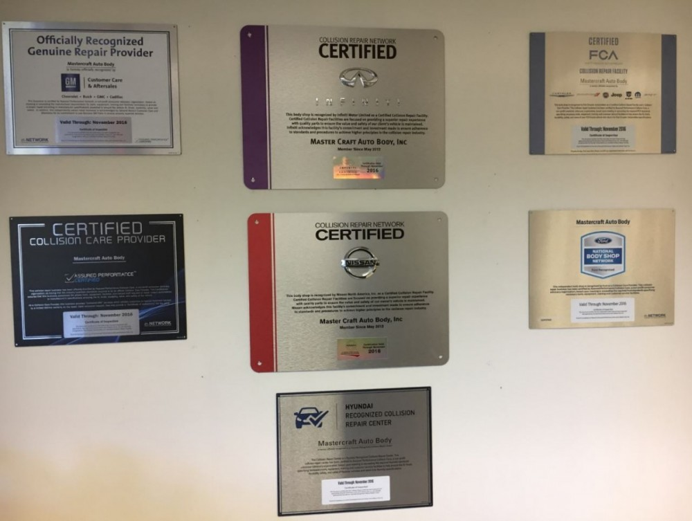 t Mastercraft Auto Body Of Manassas, we proudly post our earned certificates and awards.