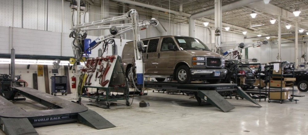 Professional vehicle lifting equipment at The Body Works - Brainerd/Baxter, located at Baxter, MN, 56425, allows our damage estimators a clear view of all collision related damages.