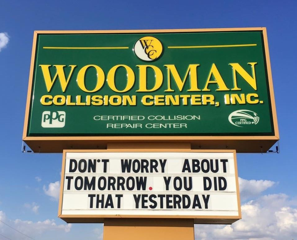 Here at Woodman Collision Center, Godfrey, IL, 62035, we are always happy to help you!